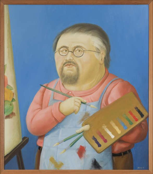 Botero réalise très peu de portraits d'après nature, mais un certain nombre d'autoportraits, dans une variété de registres, qui mélange la tradition de la peinture européenne et l'iconographie coloniale de Colombie. Celui-ci est réalisé la même année où Botero peint le portrait de Picasso qui, dans l'exposition, est présenté juste à côté. La palette à la main, face à sa toile, dans son tablier de travail, l'artiste regarde son public droit dans les yeux.