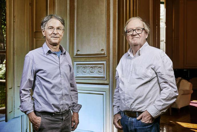 Yves Bichet (à gauche) et Jean-Pierre Le Dantec, dans les locaux de Gallimard, à Paris.