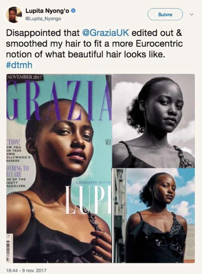 La photo retouchée de l'actrice Lupita Nyong'o publiée par« Grazia» au Royaume Uni.