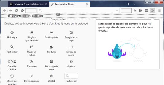 Le menu Personnaliser permet de choisir des boutons, et les rajouter à divers endroits de l'interface.