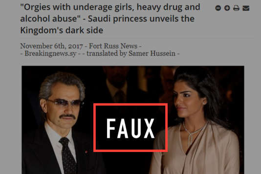 De nombreux sites étrangers ont repris récemment une fausse interview de la princesse saoudienne Al-Tawil qui serait parue dans «Le Monde», mais qui n'a jamais été donnée.