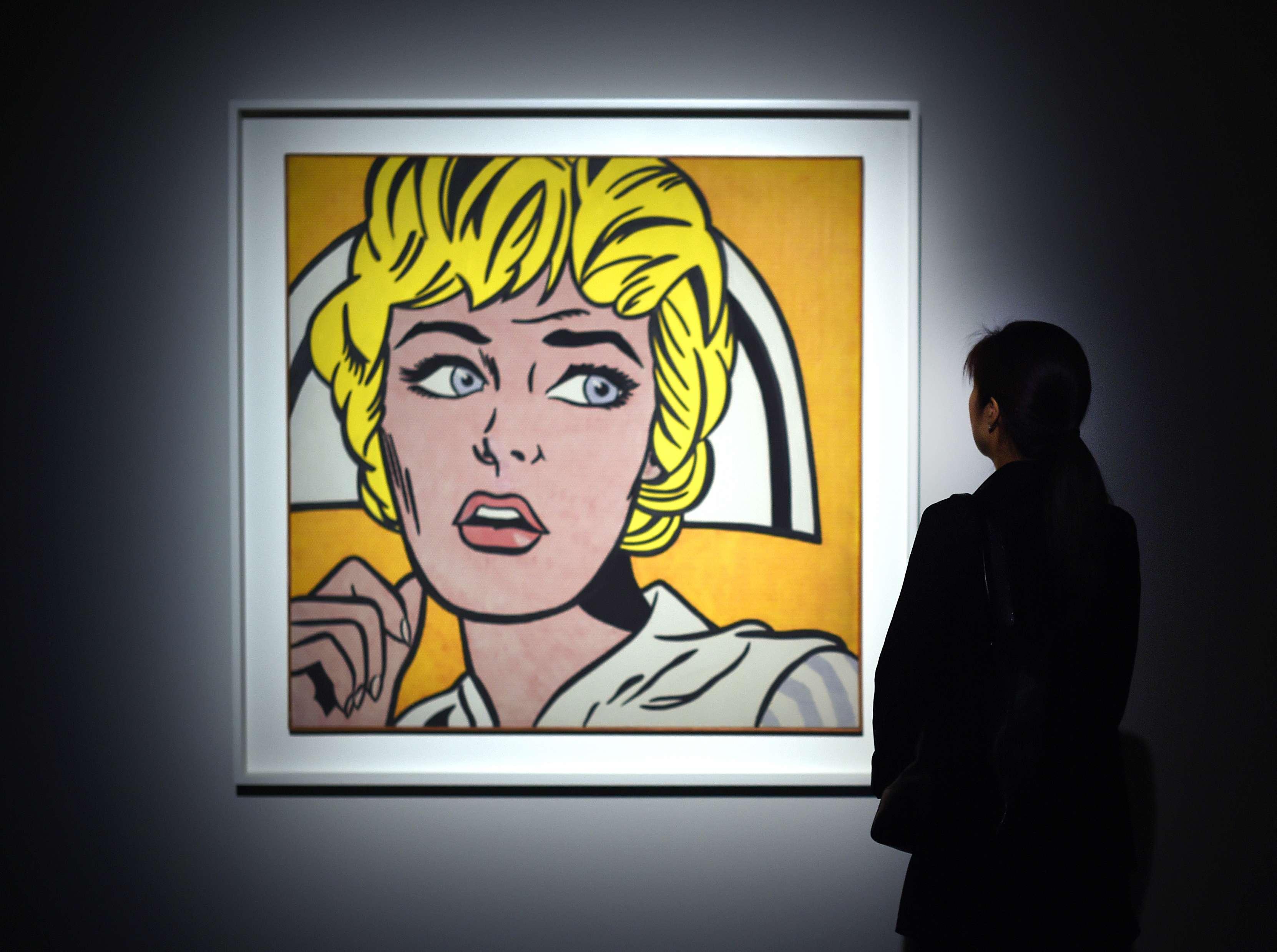 «Nurse», un tableau de la figure du pop art américain Roy Lichtenstein, inspiré de l'univers de la pub et des comics, a étéacquis ennovembre2015 pour 95,37millions de dollars chez Christie's à New York.