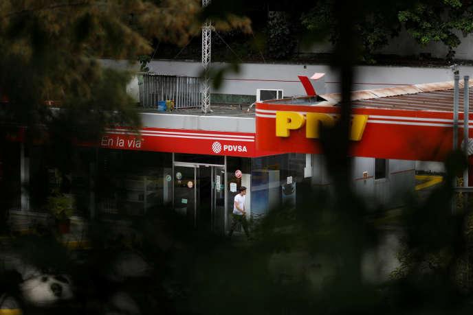 Le logo de la compagnie pétrolier d'Etat PDVSA à Caracas, le 16novembre.