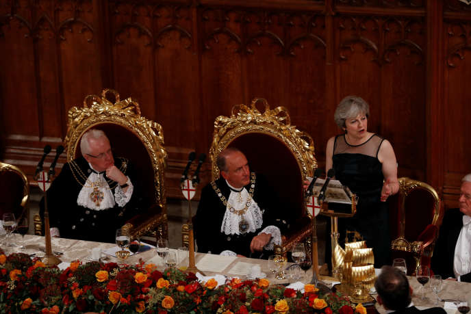 Theresa May, lors du banquet annuel du lord-maire de la City de Londres, le 13 novembre.