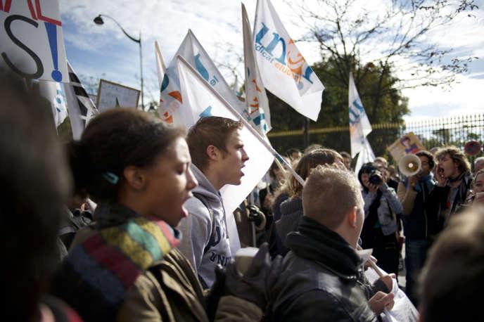 Manifestation de l'UNEF, à Paris, en octobre 2010.