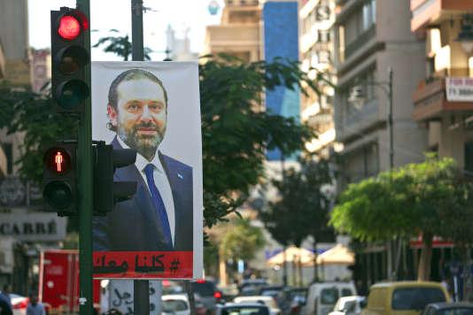 Un portrait de l'ex-premier ministre libanais Saad Hariri dans les rues de Beyrouth, le 15 novembre.