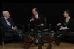 De gauche à droite, l'économiste Danois Niels Thygesen, l'écrivain et journaliste Bill Emmott de Project Synidcate et la journaliste Marie Charrel journaliste du service Economie du Monde.