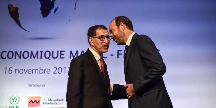 Les premiers ministresmarocain, Saadeddine Al-Othmani (dr.), et français, Edouard Philippe (g.), à Rabat, le 16novembre 2017.