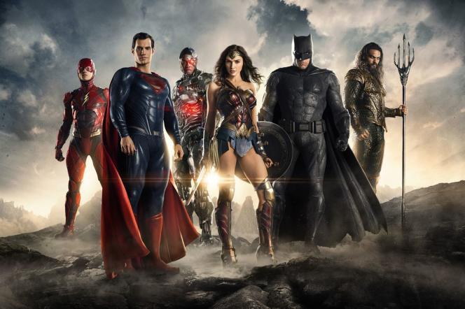 Les superhéros de « Justice League», de gauche à droite : Ezra Miller (Flash), Henry Cavill (Superman), Ray Fisher (Cyborg), Gal Gadot (Wonder Woman), Ben Affleck (Batman) et Jason Momoa (Aquaman).