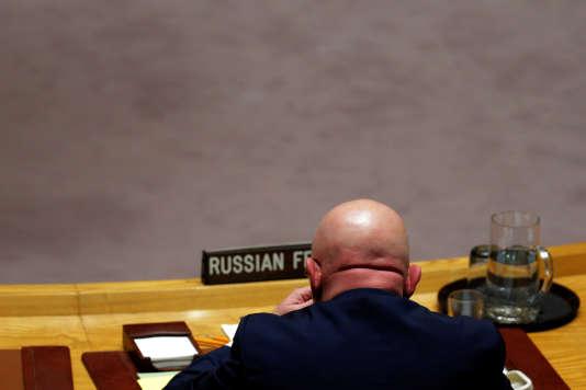 L'ambassadeur russe auprès des Nations unies, lors de la réunion du Conseil de sécurité sur les armes chimiques en Syrie, le 16 novembre.