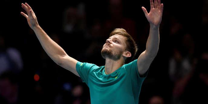David Goffin à l'O2 Arena de Londres, après sa victoire face à Roger Federer, le 18 novembre 2017. Action Images via Reuters/Tony O'Brien TPX IMAGES OF THE DAY