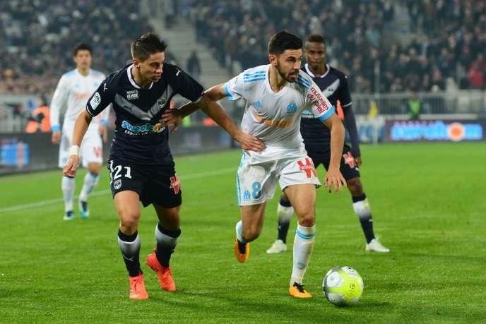 Le milieu marseillais Morgan Sanson, dimanche 19 novembre, lors du match contre Bordeaux, à Bordeaux.