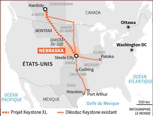 Le tracé du projet de l'oléoduc Keystone XL.