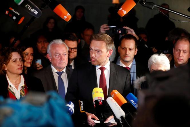 Christian Lindner, presidente del Partido Liberal Democrático (FDP), al final de las negociaciones con la CDU-CSU y los Verdes para la formación de una coalición gubernamental, el 19 de noviembre de 2017, en Berlín.