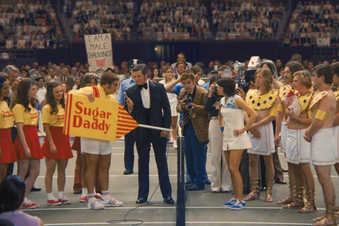 Steve Carell (Bobby Riggs) etEmma Stone (Billie Jean King) dans«Battle of the Sexes», film américain deJonathan Dayton et Valerie Faris.