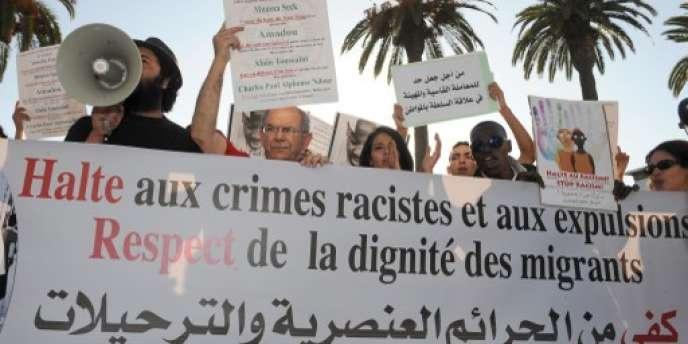 Manifestation contre le racisme envers les migrants, à Rabat, au Maroc, le 11 septembre 2014.