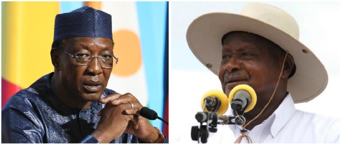 Les présidents tchadien Idriss Déby Itno et ougandais Yoweri Museveni.