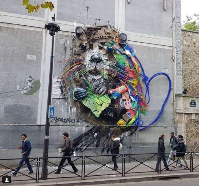 «Le Castor», de Bordalo II, rue du Chevaleret, Paris 13e.