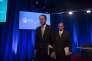 Le patron d'AT&T, Randall Stephenson, et le premier vice-président exécutif, David R. McAtee, au siège de Time Warner, le 20 novembre, à New York.