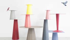 La collection de tables Ankara (2014), en acier et aluminium pliés, pour la jeune maison d'édition rhônalpine Matière Grise.