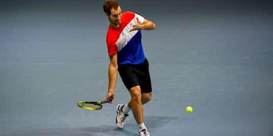 Richard Gasquet lors du stage de préparation de l'équipe de France de Coupe Davis.