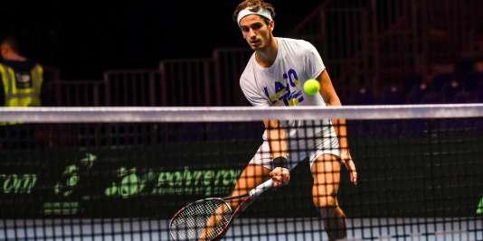 Pierre-Hugues Herbert lors du stage de préparation de l'équipe de France de Coupe Davis.