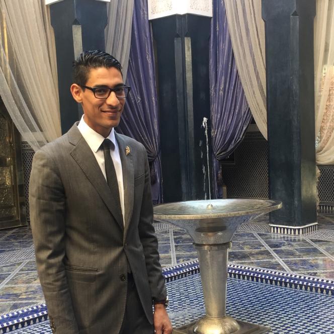 Zakaria Wahby à l'hôtel Royal Mansour, le 21 octobre 2017. Il est le premier à être élu meilleur sommelier du Maroc.