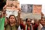 Manifestation contre le harcèlement sexuel à Casablanca, le 23 août, après l'agression d'une jeune femme dans un bus.