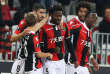 """Nice's French midfielder Adrien Tameze (C) celebrates after scoring a goal during the UEFA Europa League football match between OGC Nice vs SV Zulte Waregem on November 23, 2017 at the """"Allianz Riviera Stadium"""" in Nice, southeastern France. / AFP / VALERY HACHE"""