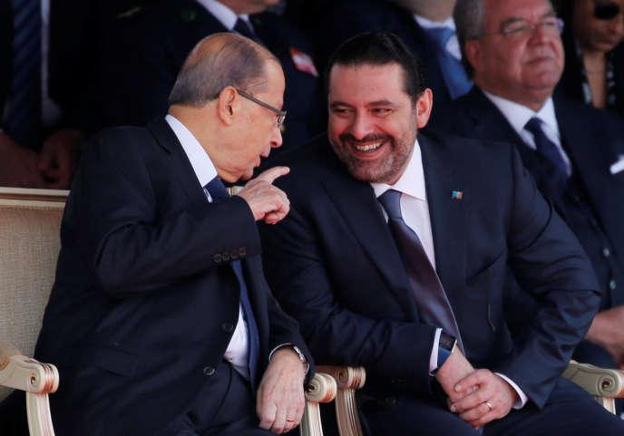 Michel Aoun et Saad Hariri, le 22 novembre, à Beyrouth.