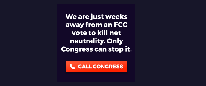 Message diffusé par les défenseurs de la neutralité du Net aux Etats-Unis.