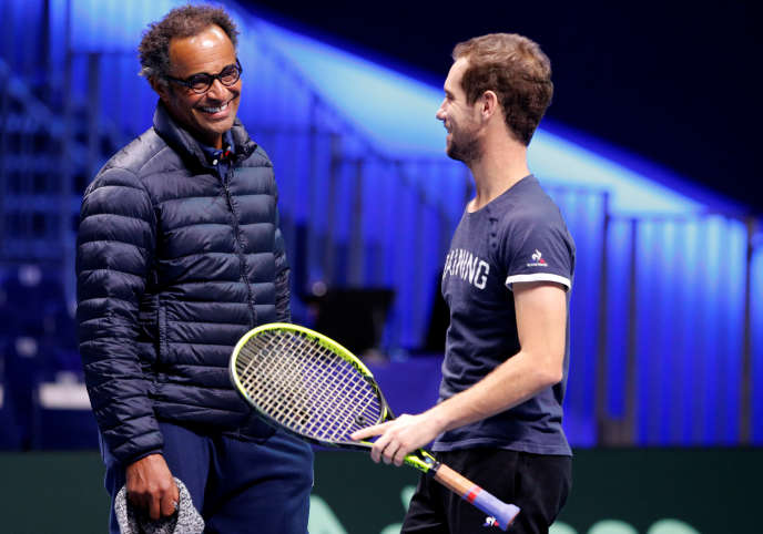 Tennis - Davis Cup Final Preview - France vs Belgium - Lille, France - November 23, 2017 France captain Yannick Noah and Richard Gasquet during practice ahead of the final REUTERS/Pascal Rossignol