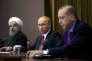 Hassan Rohani, Vladimir Poutine et Recep Tayyip Erdogan, à Sotchi, le 22 novembre.