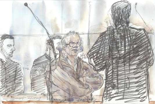 Un dessin d'audience montreAbdelhakim Dekhar lors de son procès, le 17 novembre.
