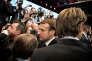 Le Président de la République Emmanuel Macron, accompagné du président de l'AMF (Association des maires de France) François Baroin, le 23 novembre à Paris.