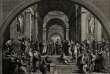 « L'école d'Athènes», avec au centre Platon et Aristote. Gravure de G. Mochetti d'après la fresque de Raphaël au Vatican.