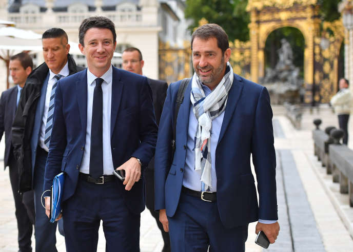 Benjamin Griveaux et Christophe Castaner (à droite), à Nancy le 1er juillet. Christian Liewig/ABACAPRESS.COM