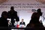 Le président de la République, Emmanuel Macron, lors de son discours prononcé pour la Journée de lutte contre les violences faites aux femmes, le 25 novembre à Paris.