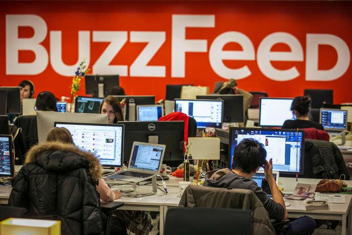 Dans les locaux de« BuzzFeed» à New York, en janvier 2014.