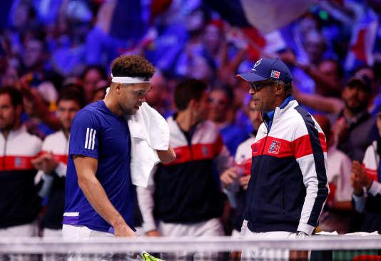 Jo-Wilfried Tsonga durant la finale de Coupe Davis, le 26 novembre 2017.