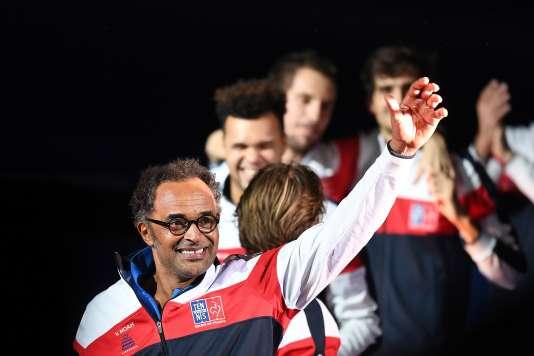 Yannick Noah, capitaine de l'équipe de France de tennis, le 26 novembre, à Lille.