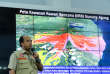 Indonesia's Disaster Mitigation Agency (BNPB) spokesman, Sutopo Purwo Nugroho, talks to reporters in front of Mount Agung's map in Jakarta, Indonesia, November 27, 2017 in this photo taken by Antara Foto. Antara Foto/Khairun Nisa/ via REUTERS ATTENTION EDITORS - THIS IMAGE WAS PROVIDED BY A THIRD PARTY. MANDATORY CREDIT. INDONESIA OUT.