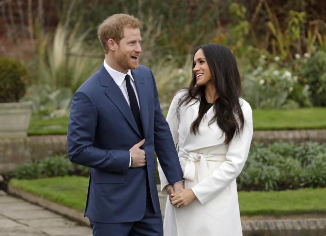 Le prince Harry et Meghan Markle lors de l'annonce de leurs fiançailles dans les jardins de Kensington Palace, à Londres, le 27 novembre.