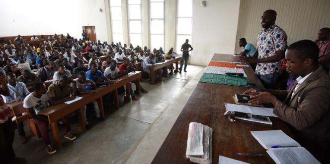 Une assemblée générale de la Fédération estudiantine et scolaire de Côte d'Ivoire à l'Université Félix-Houphouët-Boigny, à Abidjan, en juillet 2016.
