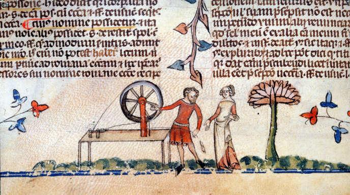 Extrait d'un manuscrit du XIVe siècle.