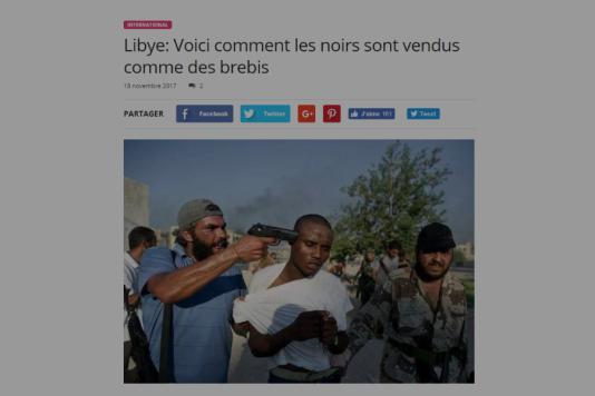 Capture d'écran du site benintimes.info, qui présente le cliché comme illustrant le« marché aux esclaves» en Libye.