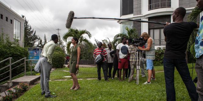 Tournage d'une scène du film « The CEO», à Lagos, au Nigeria, le 14 septembre 2015.