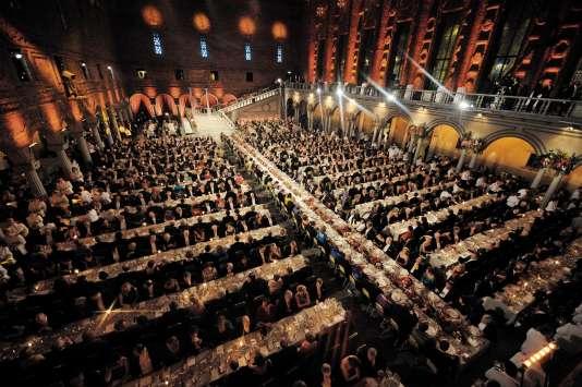 Le traditionnel dîner a lieu dans le «hall bleu» de la mairie de Stockholm (ici, en 2008).