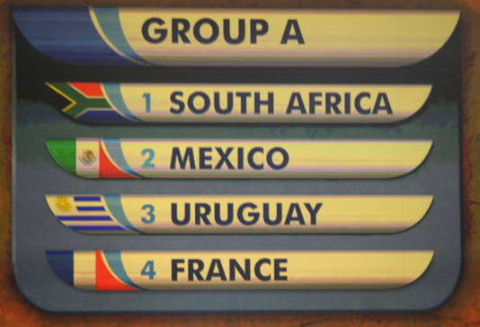 Le groupe A, celui de la France au Mondial2010, après le tirage au sort au Cap en 2009.