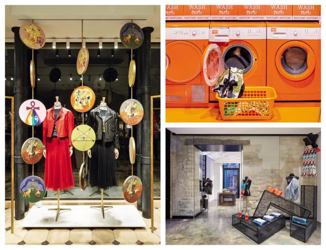 Dior installe avenue Montaigne deux magasins temporaires (à gauche), Hermès et ses minilaveries font escale dans le monde entier (en haut) et Chanel a ouvert un espace éphémère dans le Marais (en bas).